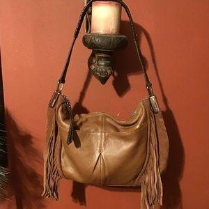 B. Makowsky Caramel Leather & Suede Fringed Bag